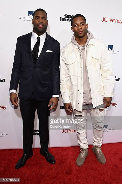 Football players DeMarco Murray and Victor Cruz attend Sports Illustrated's Fashionable 50 event at Vandal on April 12, 2016 in New York City.