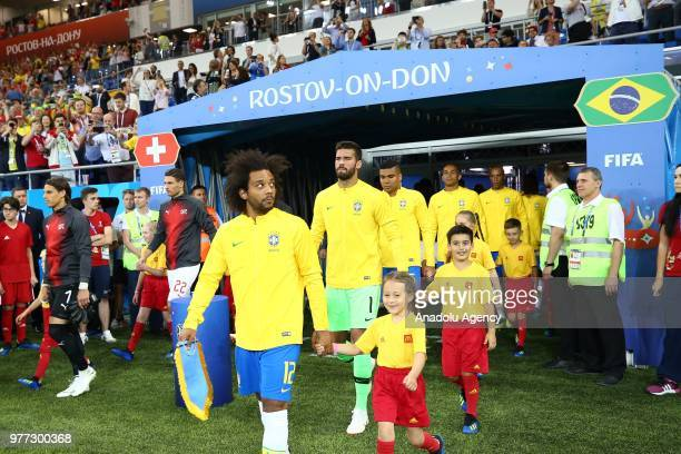 Football players enter the pitch ahead of 2018 FIFA World Cup Russia Group E match between Brazil and Switzerland at Rostov Arena in RostovonDon...