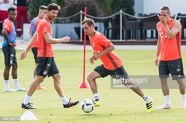 Football players Franck Ribery attend the first training session of new head coach Carlo Ancelotti at FC Bayern Munichhen at Saebener Strasse...