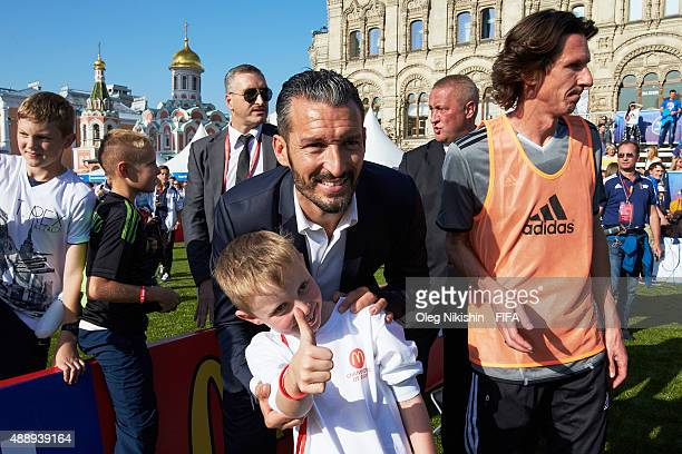 Football players Gianluca Zambrotta and Alexey Smertin have fun with fans during the U16 Young Tournament during FIFA '1000 Days to Go' - Russia 2018...