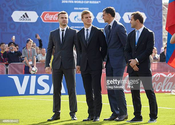 Football players Igor Akinfeev Alexander Kokorin Vladimir Gabulov and Alexander Kerzhakov attend opening Ceremony of the U16 Young Tournament during...