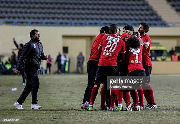 Football players of Al Ahly celebrate after scoring a goal during the Egypt Premier League match between Al Ahly and Zamalek at the Petro Sport...