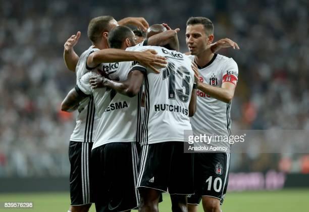 Football players of Besiktas celebrate after scoring a goal during a Turkish Super Lig soccer match between Besiktas JK and Bursaspor at Vodafone...