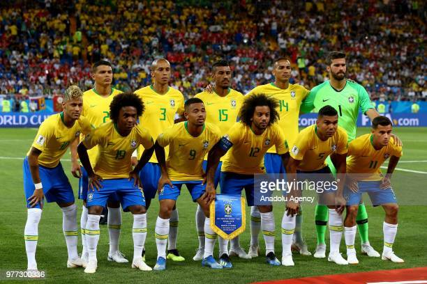 Football players of Brazil pose for a photo ahead of 2018 FIFA World Cup Russia Group E match between Brazil and Switzerland at Rostov Arena in...