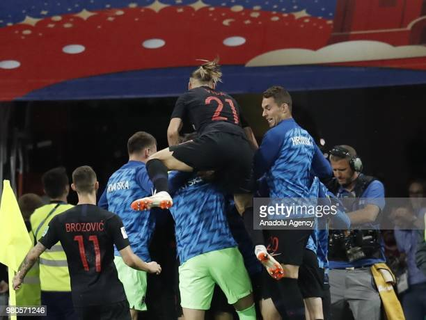 Football players of Croatia celebrate after scoring a goal during the 2018 FIFA World Cup Russia Group D match between Argentina and Croatia at...