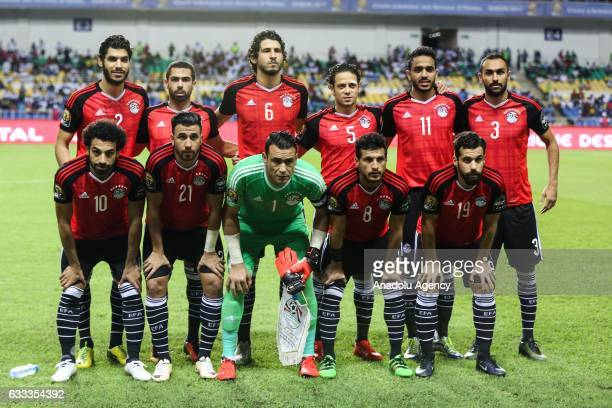 Football players of Egypt pose for a photo before the 2017 Africa Cup of Nations semifinal football match between Burkina Faso and Egypt at the Stade...