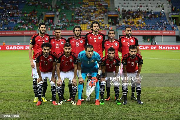 Football players of Egypt pose for a photograph ahead of the African Cup of Nations 2017 quarter final football match between Egypt and Morocco in...