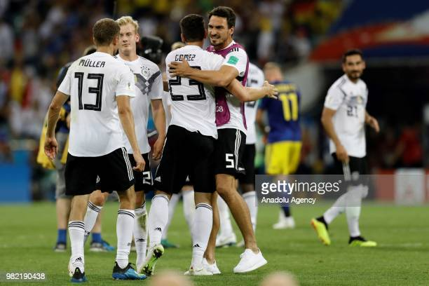 Football players of Germany celebrate after winning the match at the end of the 2018 FIFA World Cup Russia Group F match between Germany and Sweden...