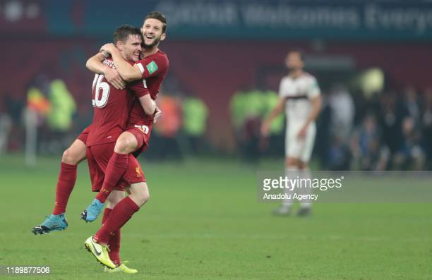 Football players of Liverpool celebrate after scoring a goal during the FIFA Club World Cup Qatar 2019 Final match between Liverpool FC and CR...