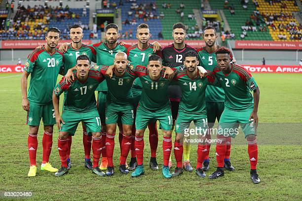Football players of Morocco pose for a photograph ahead of the African Cup of Nations 2017 quarter final football match between Egypt and Morocco in...