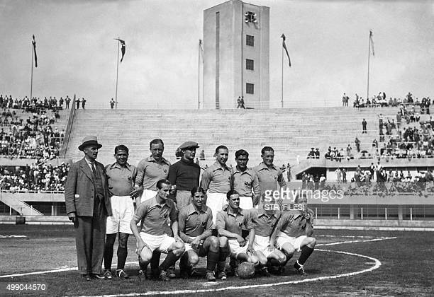 Football players of the French team pose before first round soccer match between Austria and France during the World Cup on May 27 1934 in Turin...