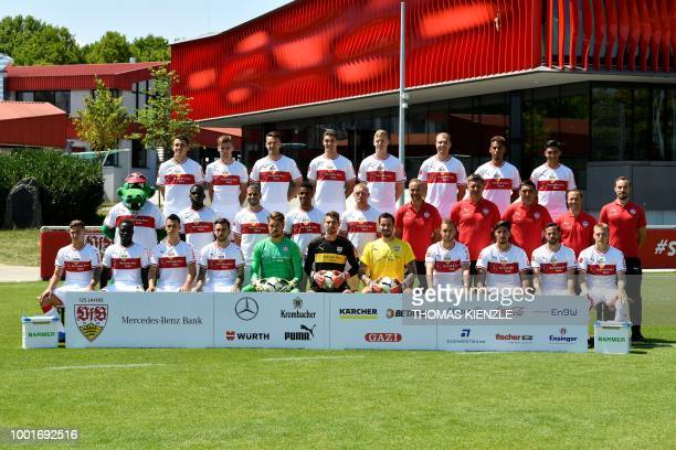 Football players of the German first division Bundesliga club VfB Stuttgart pose for a family picture during the team's official presentation for the...