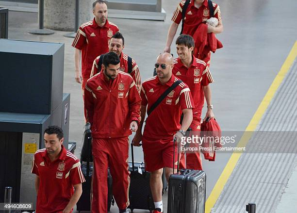 Football players of the Spanish National Football team are seen on May 29 2014 in Seville Spain