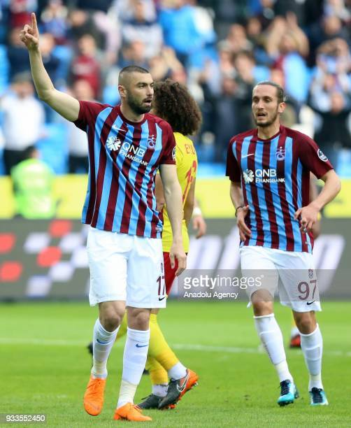 Football players of Trabzonspor celebrate after scoring a goal during the Turkish Super Lig soccer match between Trabzonspor and Evkur Yeni...
