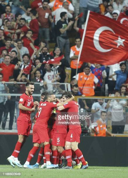 Football players of Turkey celebrate after Ozan Tufan scored a goal during UEFA Euro 2020 European Championship Qualifiers Group H match between...