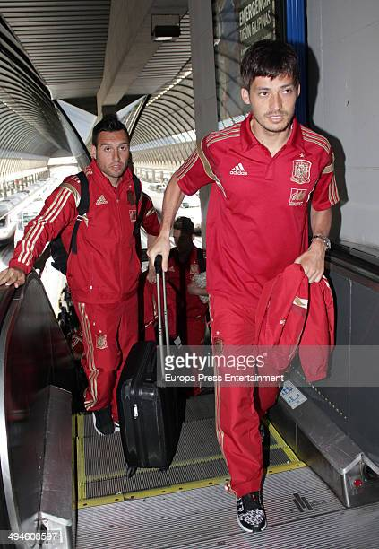 Football players Santi Cazorla and David Silva of the Spanish National Football team are seen on May 29 2014 in Seville Spain