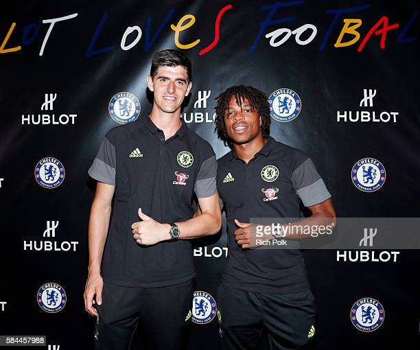 Football players Thibaut Courtois and Loïc Rémy attend Hublot x Chelsea FC event in Los Angeles at Sony Pictures Studios on July 28 2016 in Culver...
