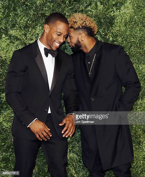 Football players Victor Cruz and Odell Beckham Jr attend the 12th annual CFDA/Vogue Fashion Fund Awards at Spring Studios on November 2 2015 in New...