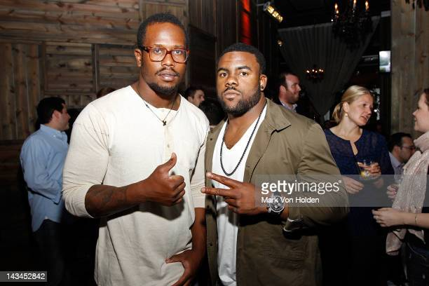 Football players Von Miller and Mark Ingram attend the Paige management group 2nd annual NFL draft QA event at The Ainsworth on April 26 2012 in New...