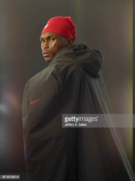 Portrait of Atlanta Falcons wide receiver Julio Jones posing during photo shoot at Atlanta Falcons Practice Facility Flowery Branch GA CREDIT Jeffery...