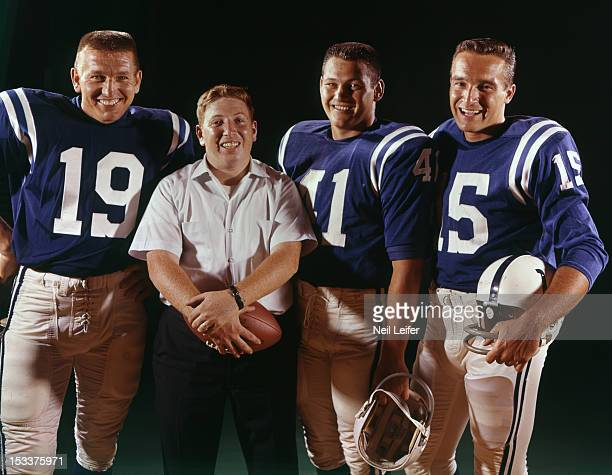 Portrait of Baltimore Colts QB Johnny Unitas Tom Matte and QB Gary Cuozzo with Sports Illustrated photographer Neil Leifer during photo shoot...