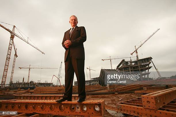 Football Portrait of Dallas Cowboys owner Jerry Jones on construction site of New Cowboys Stadium Arlington TX 5/31/2007