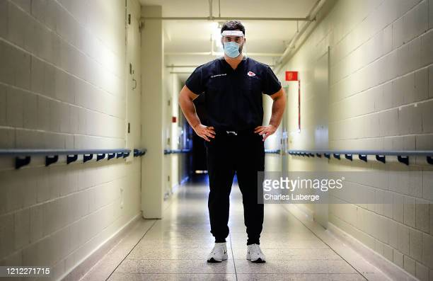 Portrait of Kansas City Chiefs offensive guard Laurent DuvernayTardif during photo shoot at longterm care facility DuvernayTardif on the front lines...