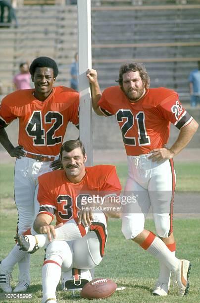 Portrait of Memphis Southmen Paul Warfield , Larry Csonka , and Jim Kiick during photo shoot before game vs Southern California Sun at Anaheim...