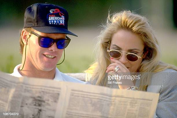 Portrait of Minnesota Vikings QB Jim McMahon with wife in Berlin Germany for preseason football in EuropeBerlin Germany 8/5/1993CREDIT Bill Frakes