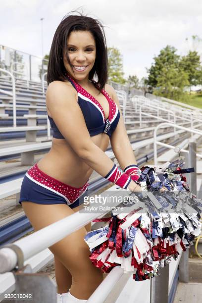Portrait of New England Patriots cheerleader Kayla Brunson posing during photo shoot at practice facility Foxborough MA CREDIT Taylor Ballantyne