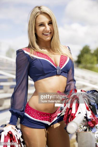 Portrait of New England Patriots cheerleader Nicole Manelas posing during photo shoot at practice facility Foxborough MA CREDIT Taylor Ballantyne