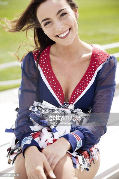 Portrait of New England Patriots cheerleader Sarah Masry posing during photo shoot at practice facility Foxborough MA CREDIT Taylor Ballantyne