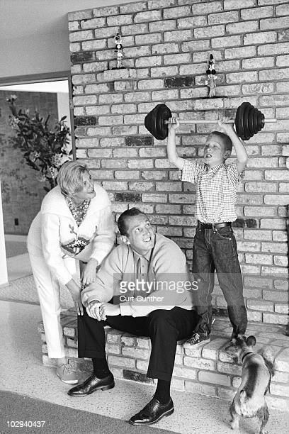 Portrait of Oakland Raiders coach Al Davis with wife Carol and son Mark at home Oakland CA 9/17/1963 CREDIT Curt Gunther