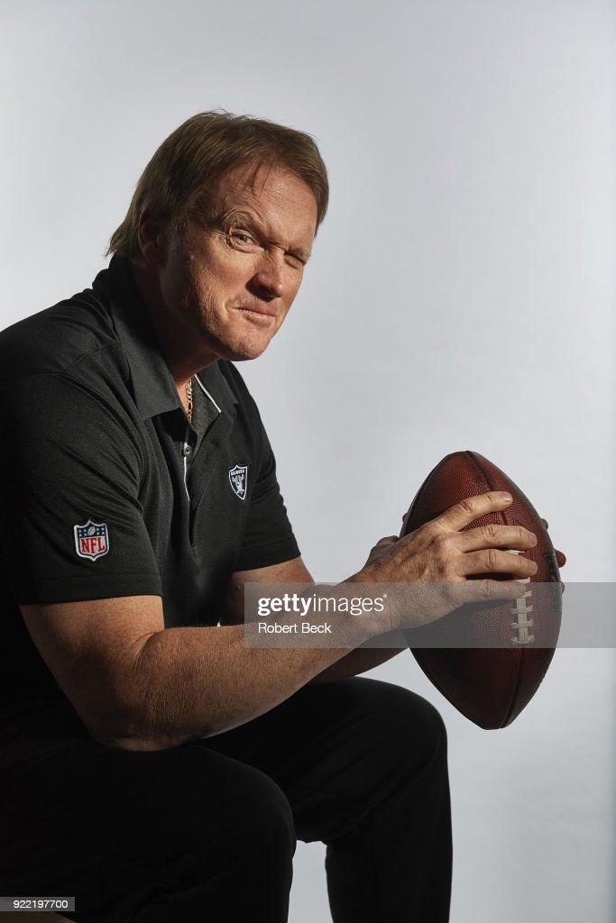 Portrait of Oakland Raiders head coach Jon Gruden posing during photo shoot at team headquarters. Robert Beck TK1 )
