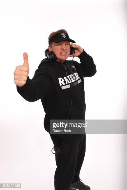 Portrait of Oakland Raiders head coach Jon Gruden posing during photo shoot at team headquarters Alameda CA CREDIT Robert Beck
