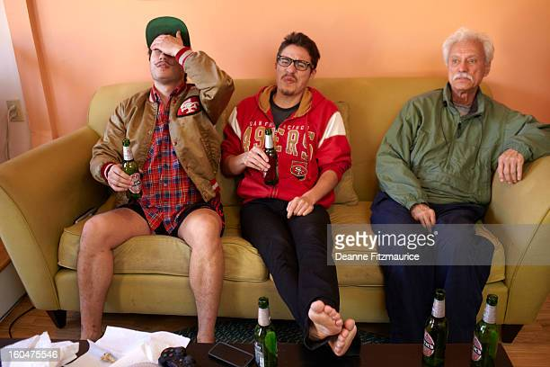 Portrait of San Francisco 49ers fan Sam Quintana watching the NFC Championship game at his Mission District apartment San Francisco CA CREDIT Deanne...
