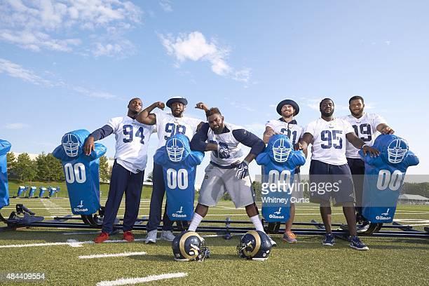 Portrait of St Louis Rams defensive linemen Robert Quinn Nick Fairley Michael Brockers Chris Long William Hayes and Aaron Donald posing during photo...