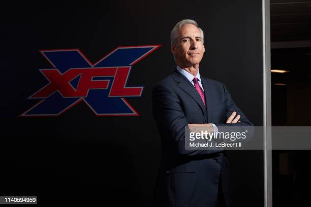Portrait of XFL CEO and commissioner Oliver Luck posing during photo shoot at league headquarters Stamford CT CREDIT Michael J LeBrecht II
