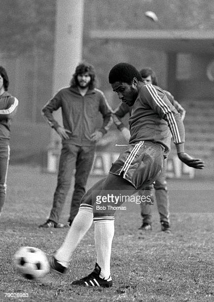 Football Portugals Eusebio practicing his ball skills during a training session