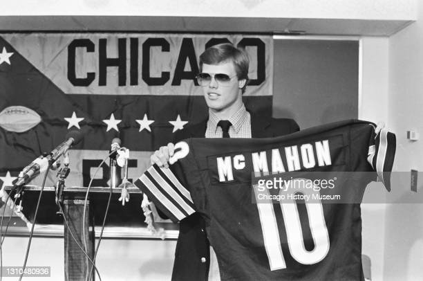 Football quarterback Jim McMahon is the first round draft pick for the Chicago Bears at Halas Hall, Chicago, Illinois, April 27, 1982.
