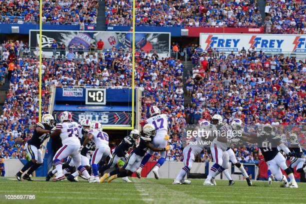 Rear view of Buffalo Bills QB Josh Allen in action passing vs San Diego Chargers Rayshawn Jenkins at New Era Field Buffalo NY CREDIT Fred Vuich
