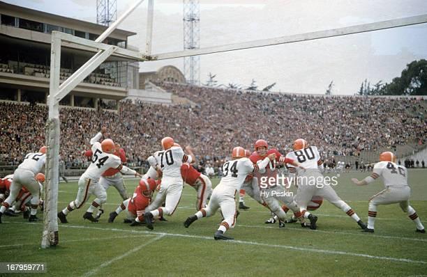 Rear view of Cleveland Browns Don Colo in action, defense vs San Francisco 49ers during preseason game at Kezar Stadium. San Francisco, CA 8/19/1956...