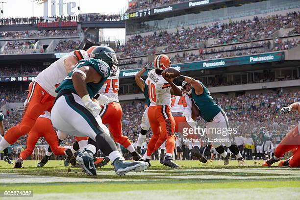 Rear view of Cleveland Browns QB Robert Griffin III in action passing vs Philadelphia Eagles at Lincoln Financial Field Philadelphia PA CREDIT...