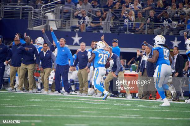 Rear view of Los Angeles Chargers Desmond King in action vs Dallas Cowboys at ATT Stadium Arlington TX CREDIT Greg Nelson