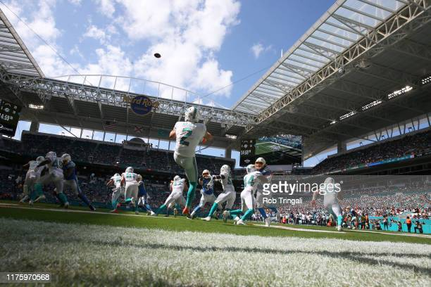 Rear view of Miami Dolphins Matt Haack in action punting vs Los Angeles Chargers at Hard Rock Stadium Miami Gardens FL CREDIT Rob Tringali