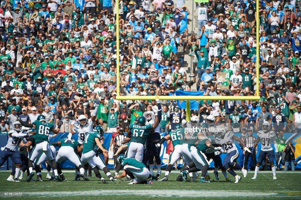 Rear view of Philadelphia Eagles Jake Elliott (4) in action, kicking vs Los Angeles Chargers at StubHub Center. Robert Beck TK1 )