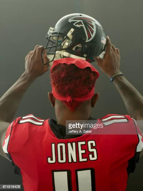 Rear view portrait of Atlanta Falcons wide receiver Julio Jones posing during photo shoot at Atlanta Falcons Practice Facility Flowery Branch GA...