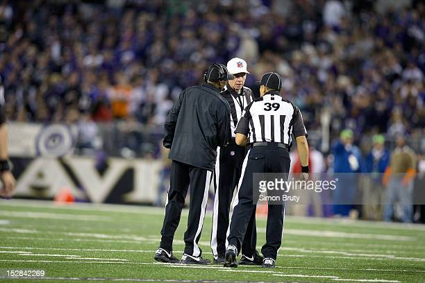 Replacement referees discussing call during Baltimore Ravens vs New England Patriots at MT Bank Stadium Baltimore MD CREDIT Simon Bruty