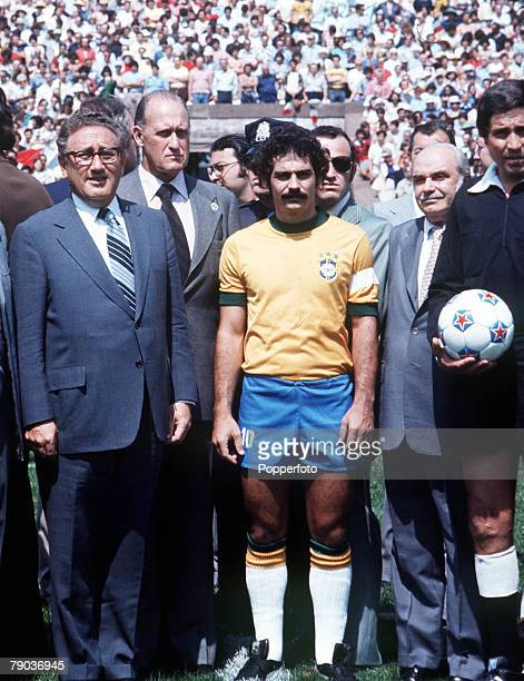 Football Rivelino one of the stars of the victorious Brazilian 1970 World Cup team lines up before an international match as he stands with US...