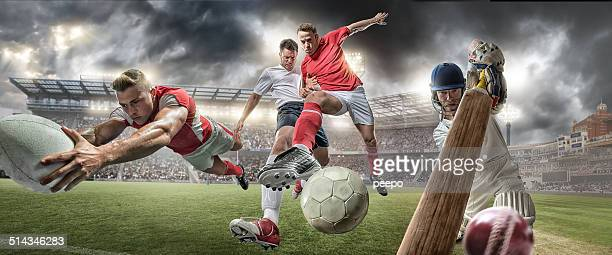 Fußball, Rugby, Cricket-Aktion